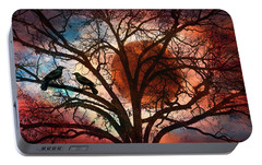 Blackbirds At Dusk Portable Battery Charger by Debra and Dave Vanderlaan