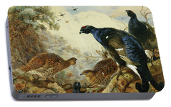 Blackgame Or Black Grouse Portable Battery Charger by Archibald Thorburn