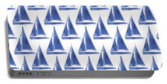 Blue And White Sailboats Pattern- Art By Linda Woods Portable Battery Charger by Linda Woods