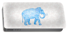Blue Damask Elephant Portable Battery Charger by Antique Images