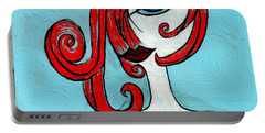 Blue Eyed Redhead In Green Dress Portable Battery Charger by Genevieve Esson