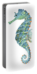 Blue Seahorse Portable Battery Charger by Amy Kirkpatrick
