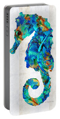 Blue Seahorse Art By Sharon Cummings Portable Battery Charger by Sharon Cummings