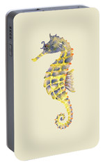 Blue Yellow Seahorse - Square Portable Battery Charger by Amy Kirkpatrick