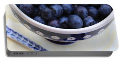 Blueberries With Spoon Portable Battery Charger by Carol Groenen