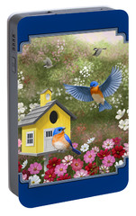 Bluebirds And Yellow Birdhouse Portable Battery Charger by Crista Forest