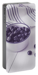 Bowl Of Blueberries Portable Battery Charger by Kim Hojnacki