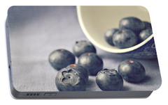 Bowl Of Blueberries Portable Battery Charger by Lyn Randle