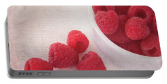 Bowl Of Red Raspberries Portable Battery Charger by Cindi Ressler