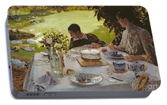 Breakfast In The Garden, 1883 Portable Battery Charger by Giuseppe Nittis