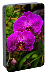 Bright Purple Orchids Portable Battery Charger by Garry Gay