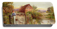 Bringing Home The Sheep Portable Battery Charger by Ernest Walbourn