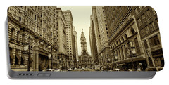 Broad Street Facing Philadelphia City Hall In Sepia Portable Battery Charger by Bill Cannon