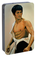Bruce Lee Painting Portable Battery Charger by Paul Meijering