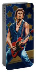 Bruce Springsteen The Boss Painting Portable Battery Charger by Paul Meijering