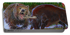 Bull And Bear Portable Battery Charger by Carey Chen