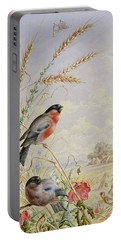 Bullfinches In A Harvest Field Portable Battery Charger by Harry Bright