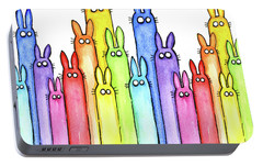 Bunny Rainbow Pattern Portable Battery Charger by Olga Shvartsur