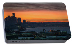 Burning Seattle Skyline Sunrise Panorama Portable Battery Charger by Mike Reid