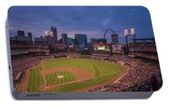 Busch Stadium St. Louis Cardinals Ball Park Village Twilight #3c Portable Battery Charger by David Haskett