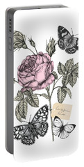 Cabbage Rose Portable Battery Charger by Stephanie Davies