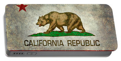 California Republic State Flag Retro Style Portable Battery Charger by Bruce Stanfield