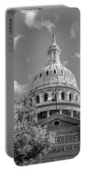 Capitol Of Texas - State Building - Austin Texas Black And White Portable Battery Charger by Gregory Ballos