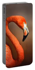 Caribean Flamingo Portrait Portable Battery Charger by Johan Swanepoel