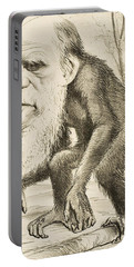 Caricature Of Charles Darwin Portable Battery Charger by English School