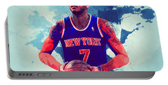 Carmelo Anthony Portable Battery Charger by Semih Yurdabak