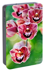 Cascading Miniature Orchids Portable Battery Charger by Kaye Menner