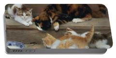 Cat And Kittens Chasing A Mouse   Portable Battery Charger by Rosa Jameson