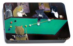 Cats Playing Pool Portable Battery Charger by Gail Eisenfeld