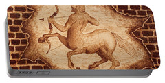 Centaur Hunting Original Coffee Painting Portable Battery Charger by Georgeta Blanaru