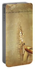 Charlie Parker Saxophone Brown Vintage Poster And Quote, Gift For Musicians Portable Battery Charger by Pablo Franchi
