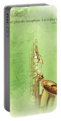 Charlie Parker Saxophone Green Vintage Poster And Quote, Gift For Musicians Portable Battery Charger by Pablo Franchi