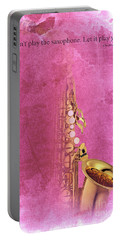 Charlie Parker Saxophone Light Red Vintage Poster And Quote, Gift For Musicians Portable Battery Charger by Pablo Franchi