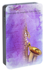 Charlie Parker Saxophone Purple Vintage Poster And Quote, Gift For Musicians Portable Battery Charger by Pablo Franchi