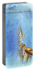 Charlie Parker Saxophone Vintage Poster And Quote, Gift For Musicians Portable Battery Charger by Pablo Franchi