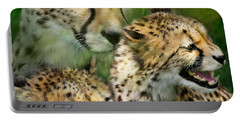 Cheetah Moods Portable Battery Charger by Carol Cavalaris