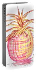 Chic Pink Metallic Gold Pineapple Fruit Wall Art Aroon Melane 2015 Collection By Madart Portable Battery Charger by Megan Duncanson