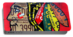 Chicago Blackhawks Hockey Team Vintage Logo Made From Old Recycled Illinois License Plates Red Portable Battery Charger by Design Turnpike