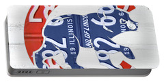 Chicago Cubs Retro Vintage Baseball Logo License Plate Art Portable Battery Charger by Design Turnpike
