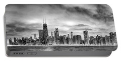 Chicago Gotham City Skyline Black And White Panorama Portable Battery Charger by Christopher Arndt