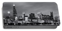 Chicago Skyline At Night Black And White  Portable Battery Charger by Adam Romanowicz
