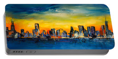 Chicago Skyline Portable Battery Charger by Elise Palmigiani