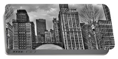 Chicago Skyline In Black And White Portable Battery Charger by Tammy Wetzel
