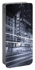 Chicago Theater Marquee B And W Portable Battery Charger by Steve Gadomski