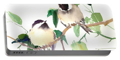 Chickadees Portable Battery Charger by Suren Nersisyan