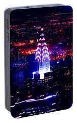 Chrysler Building At Night Portable Battery Charger by Az Jackson